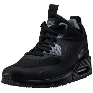 kiqwu Nike Air Max 90 Mid Winter Mens Trainers Black Black New Shoes | eBay