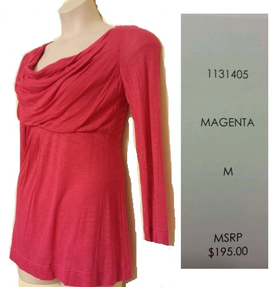 HILTON HOLLIS  NEW Sexy Magenta Sheer Lined Dress Blouse Knit Top M QCO