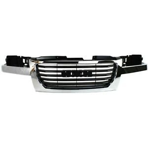 Grille For 2004-2012 GMC Canyon Chrome Shell w/ Black Insert Plastic