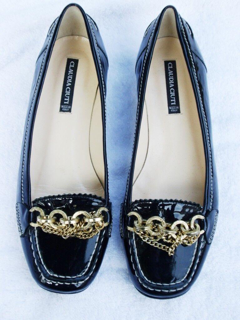 con il 60% di sconto New CLAUDIA CIUTI nero patent Leather Leather Leather CHAIN Loafers Flats scarpe  6M  trova il tuo preferito qui