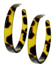 Brown tortoise shell acrylic hoop earrings 2 inch