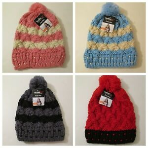 Details about Women s Therma X Extra Warmth Thick Knit Pom Stocking Cap  Beanie~One Size~S-M-L b456ea9f4