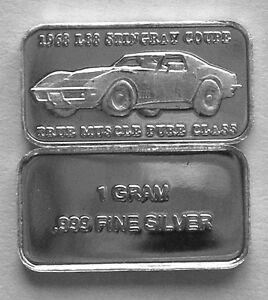 1 GRAM 0.999 2 PURE SILVER 1968 L88 STINGRAY /'TRUE MUSCLE PURE CLASS/' 10