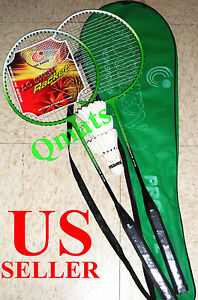 NEW 2 Badminton Racquets Racket w/ 3 Shuttlecock White Goose Feather  Ball  Set