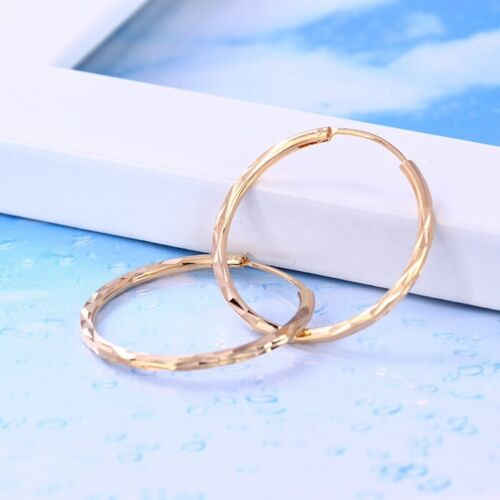 """Small 34mm /""""Gift/"""",793 9K 9ct Yellow /""""GOLD FILLED/"""" Ladies Stylish Hoop Earrings"""