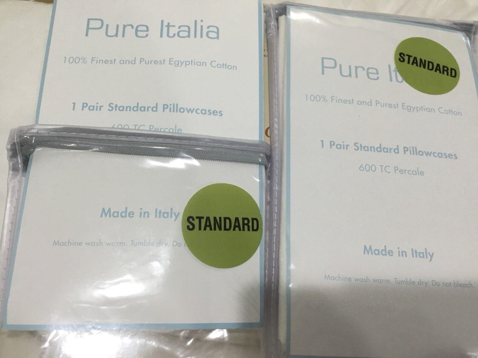 Pure Italia 600TC Made  NWT (2) Standard Cases 100% Percale White Cotton