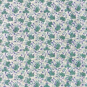 Floral-Cotton-Twill-Fabric-Blue-Green-Cream-Dressmaking-Baby-Doll-Craft