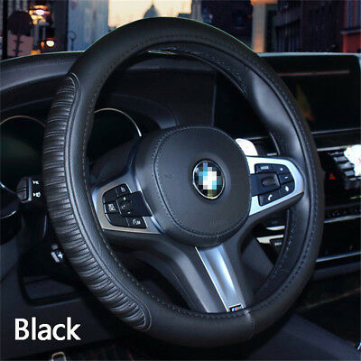 """1x 15/"""" Embossed Stripes PU Leather Car Steering Wheel Cover Protector Universal"""
