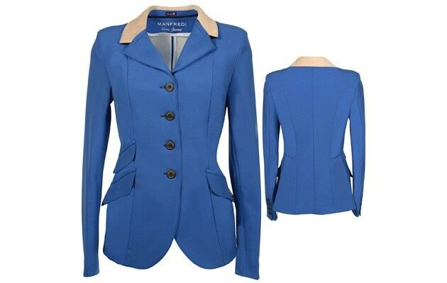Manfrougei Bleu Royal Avec camel col Show Veste UK Femme Taille 6