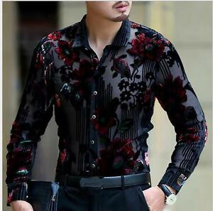 New-Fashion-Mens-Dress-Formal-Shirt-Floral-Pattern-Long-Sleeve-Party-Slim-Casual