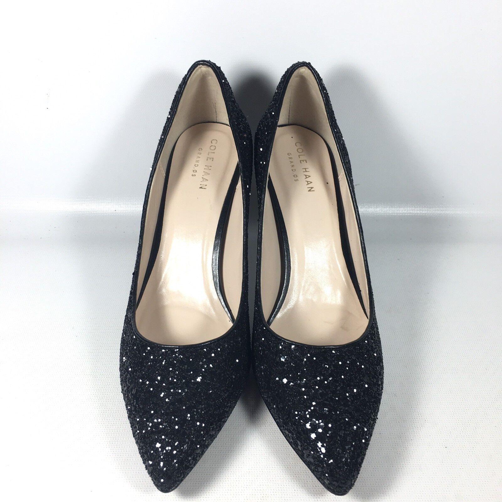 Cole Haan Haan Haan  Amela Grand  Womens 7.5 B Black Glitter Point Toe Pumps Heels d0c193