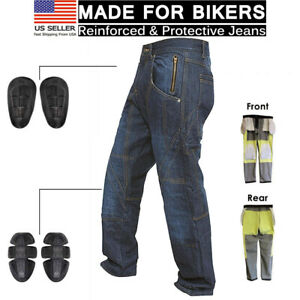 Motorcycle-Knee-Armour-Biker-Denim-Trouser-Pant-Aramid-Protective-Lined-Jeans