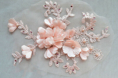 Pearl Wedding Motif Bridal Lace Trimming Pink Embroidery Corded Applique1 Pair