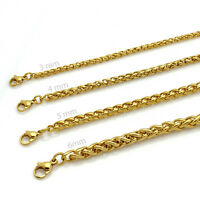 20-36mens Gold Stainless Steel Braided Wheat Chain Necklace Jewelry 3/4/5/6mm