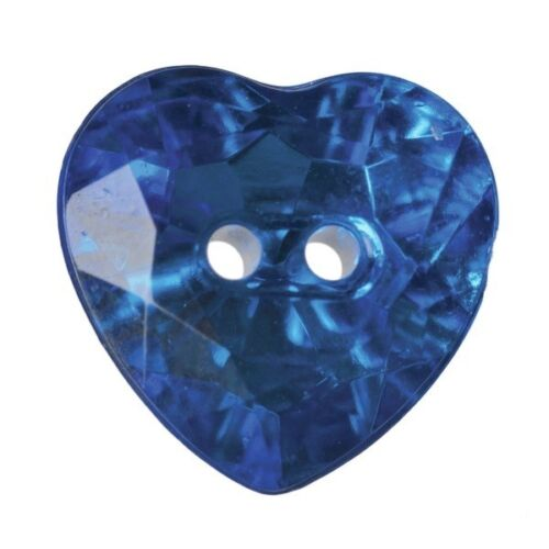 Pack of 4 Hemline Crystal Hearts 2 Hole Sew Through Buttons 16mm