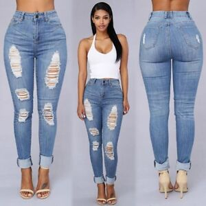 Details about Women's High Waisted Ripped Denim Skinny Jeans Pants Light Blue S 2XL ❤Aus❤