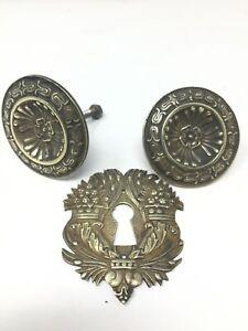 Quincaillerie-Ameublement-Bouton-Poignees-Entree-De-Serrure-XIX-eme-Bronze