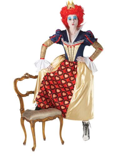 Adult Disney Red Queen Of Hearts Alice Fancy Dress Costume Ladies Womens BN