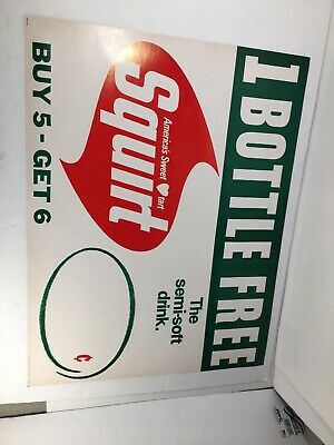 """Vintage Squirt Soda Poster Sign 1970 """"1 Bottle Free"""" you Get Ten posters"""