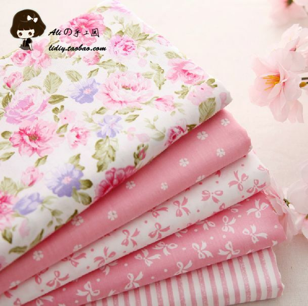 5PCS  40*50cm pink patchwork fabric sewing scrapbooking craft quilt doll cloth