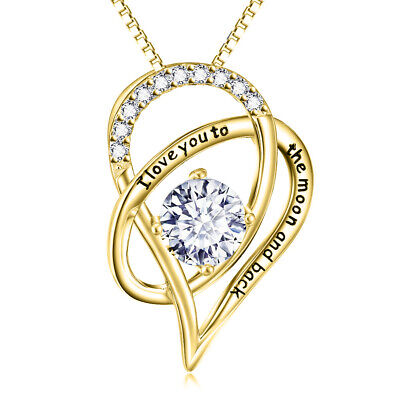 14K Solid Yellow Gold I Love You Half Heart Necklace Pendant 2 Singapore Chains