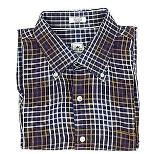 Peter-Millar-Mens-Shirt-XL-Blue-Yellow-White-Plaid-Check-Button-Down-Long-Sleeve