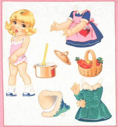 Pièce de tissu Vignette Paper doll Poupée patchwork coupon Cotton Fabric