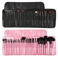 32tlg Pinsel Set Make-up Echthaar Brush Kosmetik Tasche Shwarz Rosa Beige Hoss