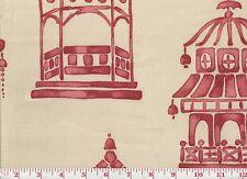 Asian Inspired P Kaufmann Cotton Drapery Upholstery Fabric Ming Pagoda CL Blaze