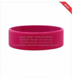 Image Is Loading Kids Medical Id Waterproof Safety Wristband Bracelet