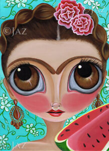 Frida-and-Watermelon-Art-Print-SIGNED-amp-dated-by-artist-Jaz-Higgins-Mexican-Girl