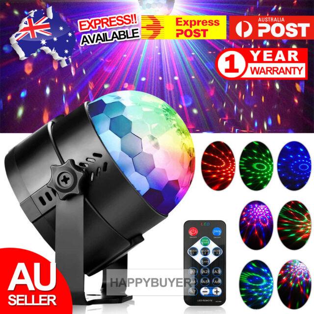 Sound Active RGB LED Stage Light Crystal Ball Disco Xmas Club DJ Party W/ Remote
