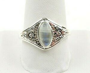 Sterling-Silver-3-0-ct-Moonstone-Cabochon-Filigree-Ring-Free-Gift-Packaging