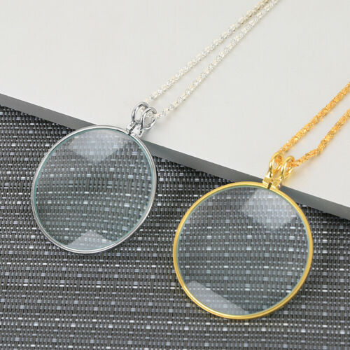 5X Magnifier Round Reading Magnifying Glass Lens Pendant Long Chain Necklace