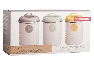 3 x Typhoon VINTAGE AMERICANA TEA COFFEE SUGAR TINS Storage Canisters - Set of 3