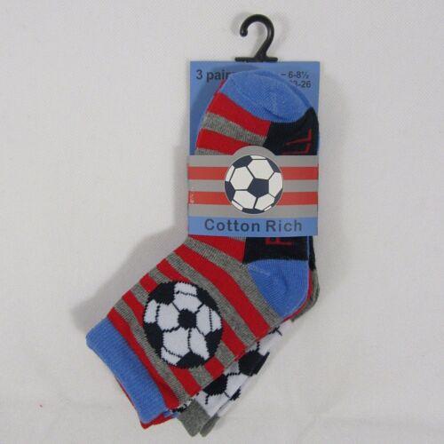 Kids Childrens Boy Boys Football Striped Socks 3 Packs Pairs Cotton Rich 6 9 3.5