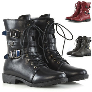 New-Womens-Lace-Up-Biker-Ankle-Mid-Calf-Ladies-Buckles-Zip-Military-Combat-Boots