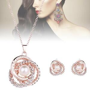Fashion-Charm-Jewelry-Set-Crystal-Pearl-Pendant-Chain-Necklace-Stud-Earrings-SS
