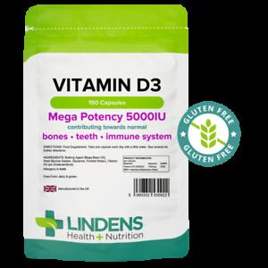Vitamin D3 5000IU High Strength 150 Soft Gel Capsules, Immune Health Lindens