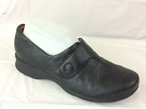 clarks artisan black leather clog shoe womens 6 wide