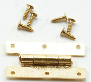 Dollhouse-Miniature-034-H-034-Hinges-with-Nails-Brass-05562-4-pk-1-12-Scale
