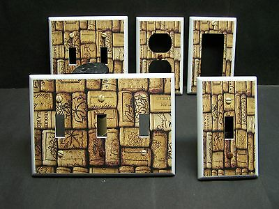 WINE BOTTLE CORKS KITCHEN DECOR  LIGHT SWITCH OR OUTLET COVER V486