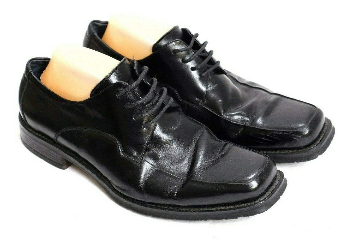 VGUC Bed   Stu Men's Size 10E Handsome Black Leather Apron Toe Lace-Up Oxfords