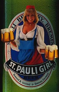 BEER-PRINT-St-Pauli-Girl-1983-Germany-Pinup-Girl-Vintage-Advertising-Poster-NOS