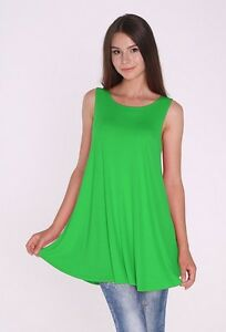 3b5764446ae Women's Kelly Green Tunic Tank Top Sleeveless Solid Long Shirt ...