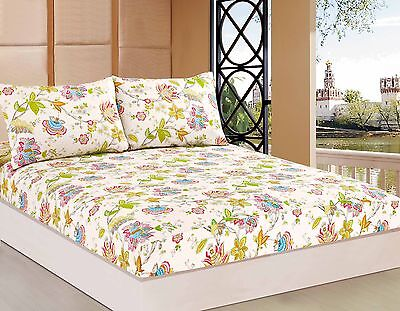 Tache 2-3 PC Butterfly Wonderland Aqua Blue Floral Colorful Fitted Sheet Only