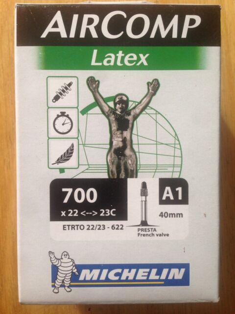36mm Michelin AirComp A1 LATEX Road Bike Inner Tube 700c x 18-20 Presta