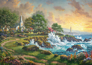 GIBSONS THOMAS KINKADE SEASIDE HAVEN 1000 PIECE JIGSAW PUZZLE PAINTER OF  LIGHT 5012269062113 | EBay Gallery