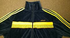 Adidas Blue Lime Green Yellow Velour type Track Jacket Mens XL