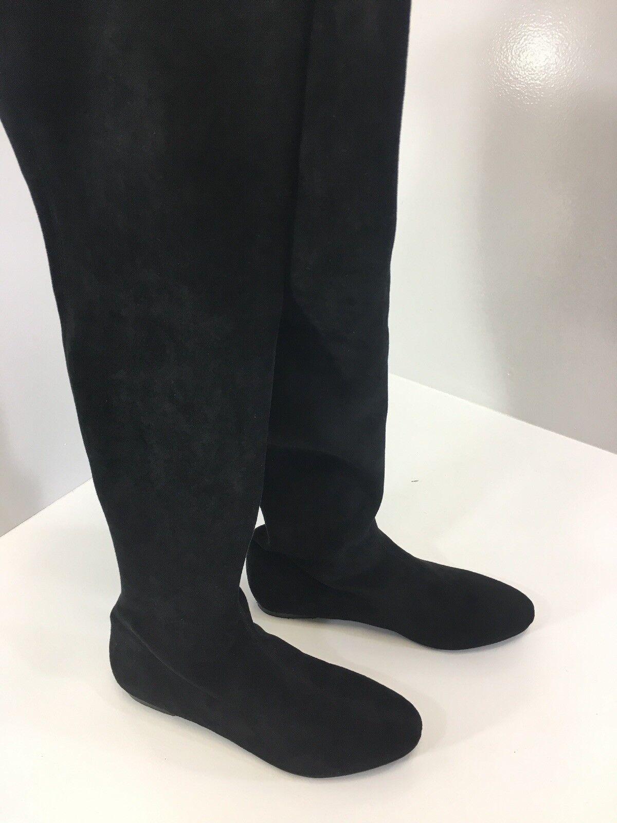 Long Tall Sally Mujer Saira Plana Sobre Ante La Rodilla Bota De Ante Sobre De Imitación Negro nos 12 Nuevo 88ab77